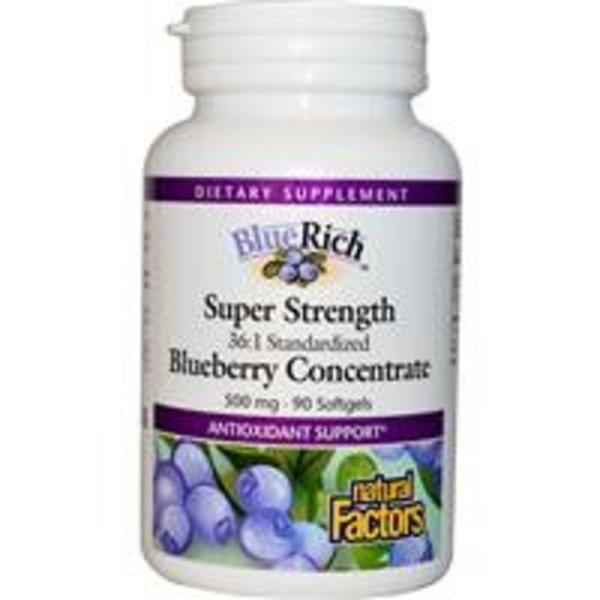 Natural Factors BlueRich, Super Strength, Heidelbeere-Konzentrat, 500 mg, 90 Kapseln (Blueberry Concentrate)