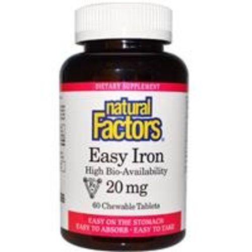 Natural Factors Easy Iron Kautabeltten (elementares Eisen) 20 mg, 60 Kautabletten