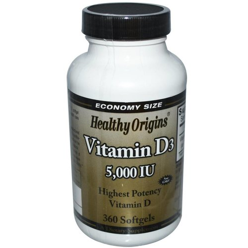 Healthy Origins Vitamin D-3 5.000 IE, 360 Kapseln