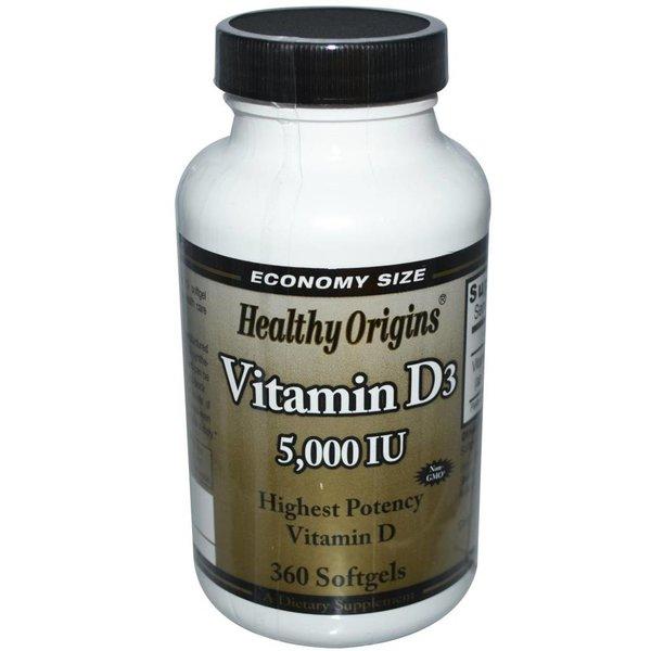 Healthy Origins Healthy Origins, Vitamin D-3  5.000 IE, 360 Kapseln: für gesunde Knochen