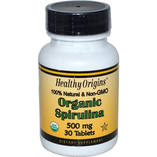 Healthy Origins Bio Spirulina, 500 mg, 30 Tabletten