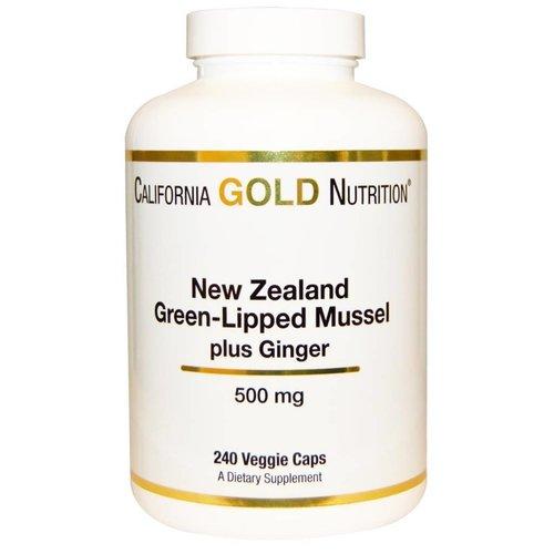California Gold Nutrition Neuseeländische Grünlippmuschel Plus-Ingwer, 500 mg, 240 Veggie Caps