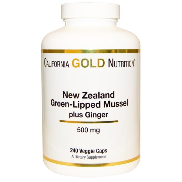 California Gold Nutrition Neuseelaändische Grünlippmuschel Plus-Ingwer, 500 mg, 240 Veggie Caps: Gelenkschmiere für Mensch & Tier
