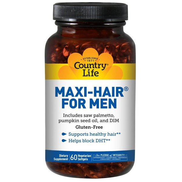 Country Life Maxi Hair für Männer, 60 Softgels: Blockiert DHT-Synthese und damit Haarausfall