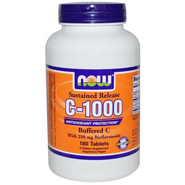 Now Foods Vitamin C-1000 Komplex, Buffered C mit verzögerter Freisetzung, 180 Tabletten: Mit 250 mg Bioflavonoide