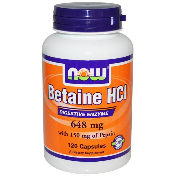 Now Foods Betain (Betaine) HCI, 648 mg, 120 Kapseln: Verdauungsenzym mit 150 mg Pepsin