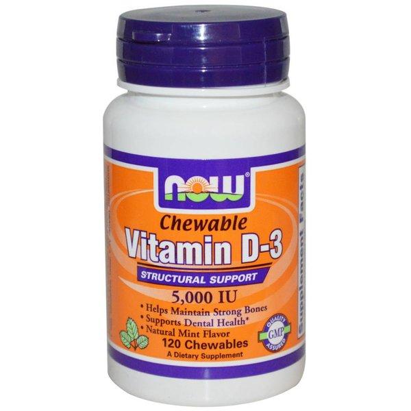 Now Foods Vitamin D-3 5.000 IE - 120 Chewables: Kautabletten: für starke Knochen und Zahnpflege