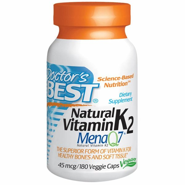 Doctor's Best Natürliches Vitamin K2, Mena Q7, 45 mcg, 180 Veggie Caps: für Gesunde Knochen und Weichgewebe