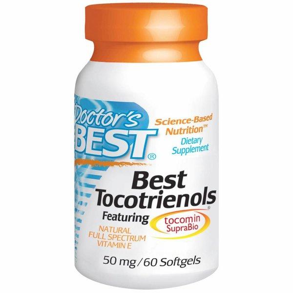 Doctor's Best Tocotrienole, 50 mg, 60 Softgels: Natürliches Vollspektrum Vitamin E mit Tocomin SupraBio