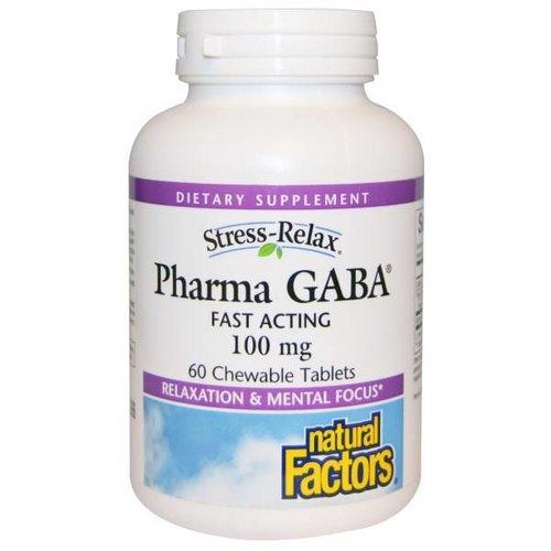 Natural Factors Stress-Relax, Pharma GABA, 100 mg, SCHNELL WIRKSAME 60 Kautabletten