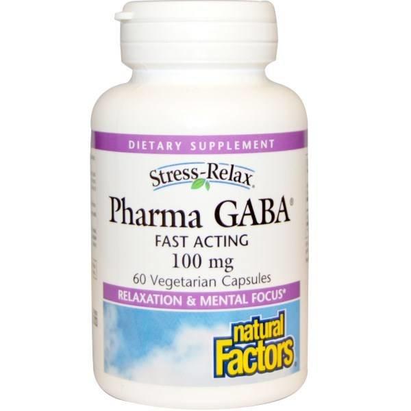 Natural Factors Stress Relax, Pharma GABA, 100 mg, 60 Veggie Caps: Balsam für das Nervensystem