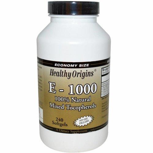 Healthy Origins E-1000 - 100 % natürlicher Tocopherol-Mix, 240 Softgel-Kapseln