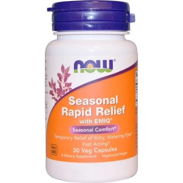 Now Foods Saisonale Allergie Formel (Rapid Relief) mit EMIQ, 30 Veggie Caps: Entlastung von Juckreiz & tränenden Augen