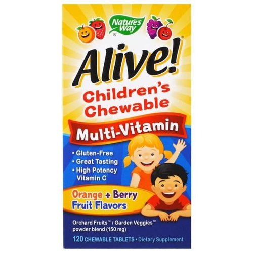 Nature's Way Alive! 120 Kautabletten für Kinder, Multivitamin, Orange, Beeren