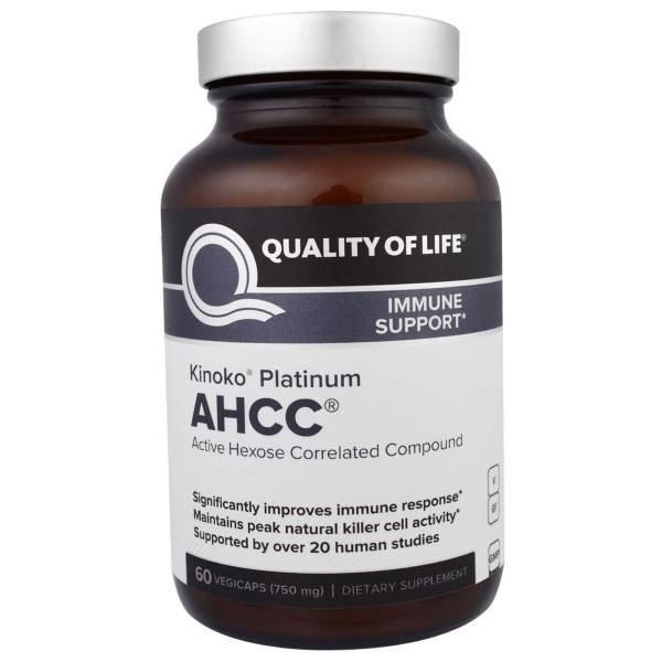 Quality of Life Labs Kinoko Platin AHCC, 750 mg (60 Vegiecaps) - Hochkonzentrierte Immununterstützung