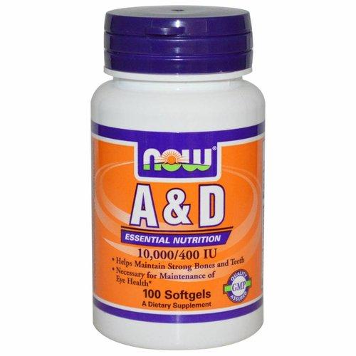 Now Foods Vitamin A&D, essenzielle Nährstoffe, 10.000/400 IU, 100 Softgelkapseln