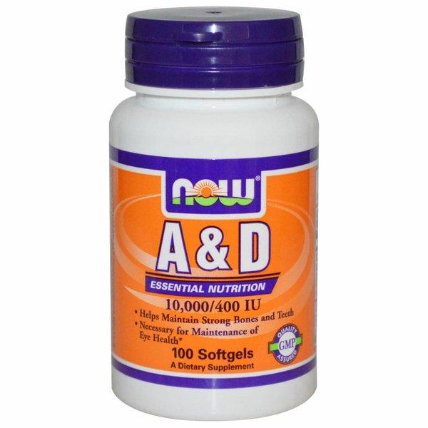 Now Foods Vitamin A & D, 10.000/400 IE (100 Softgels) - Für Augen, Zähne und & Knochen