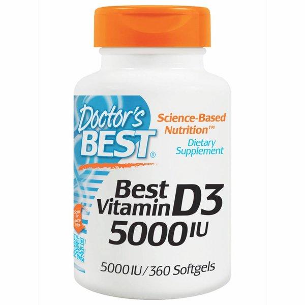 Doctor's Best Vitamin D3, 5000 IE, 360 Weichkapseln: XXL Sparpackung