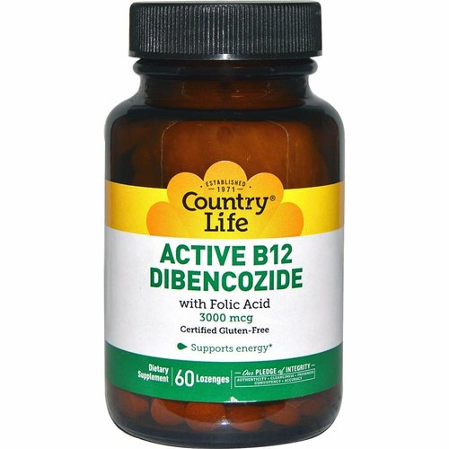 Country Life Aktives B12-Dibencozid, 3000 mcg, 60 Pastillen