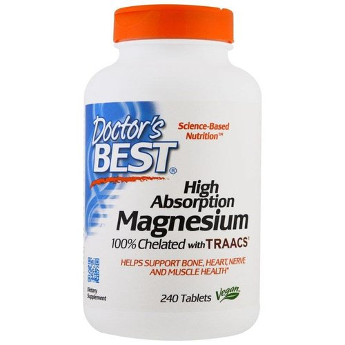 Doctor's Best Magnesium mit hohem Absorptionsgrad, 100 % Chelat mit TRAACS, 240 Tabletten