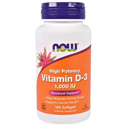 Now Foods Hochwirksames Vitamin D-3, 1.000 IE (180 Softgels)