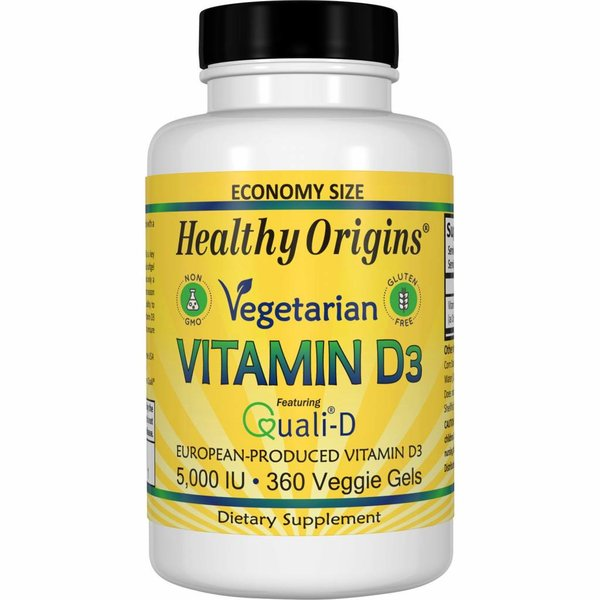Healthy Origins Vegetarisches Vitamin D3, 5.000 IE (360 Gelkapseln, Sparpackung)
