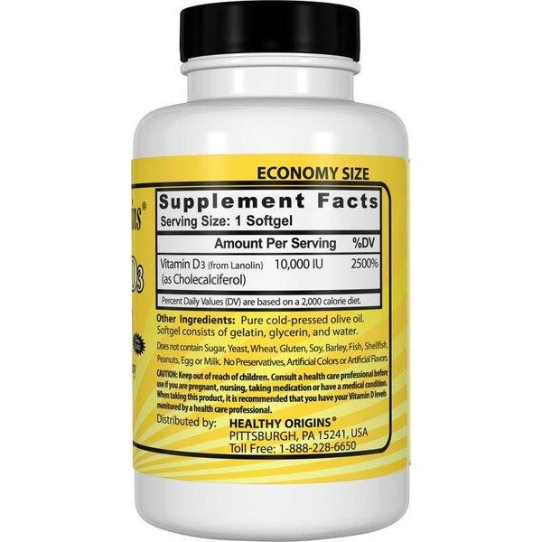 Healthy Origins Vitamin D-3, 10000 IU, 360 Softgels XXL Sparpaket