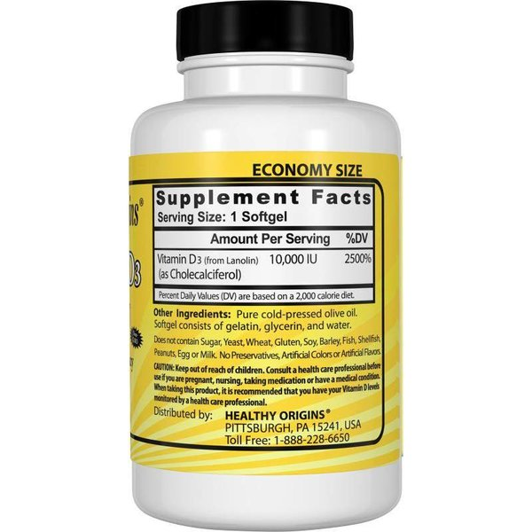 Healthy Origins Vitamin D3, 10.000 IE (360 Softgels, XXL Sparpaket)