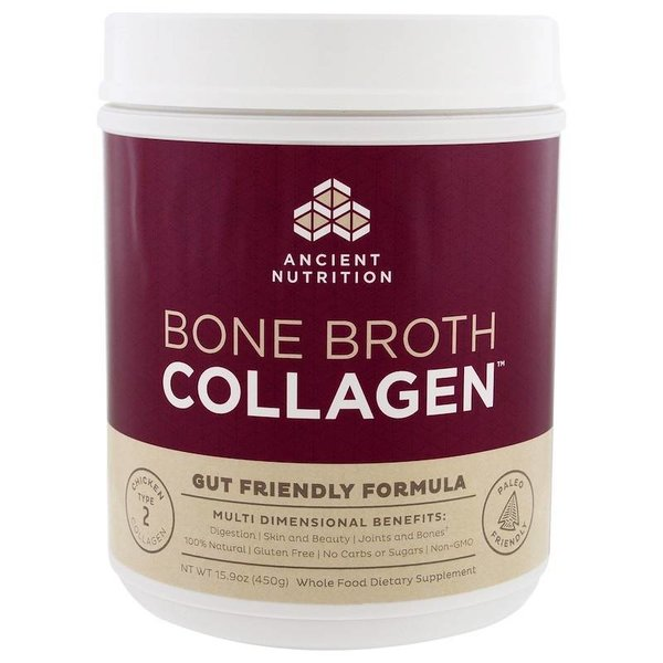 Dr. Axe / Ancient Nutrition Bone Broth Collagen, Pure, 15.9 oz (450 g): Typ 2 – Huhn Kollagen