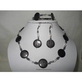 UK Collection Ketting, armband en oorbellen in grijstinten