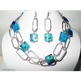 UK Collection Lange Halskette, Ohrringe, silberfarben und blau