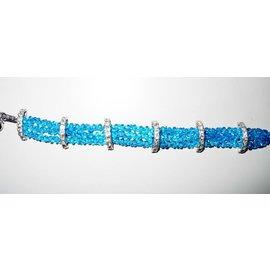 UK Collection Armband, drie rij , blauw en zilverkleur