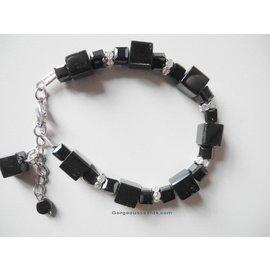 UK Collection Armband, zwart en zilverkleur