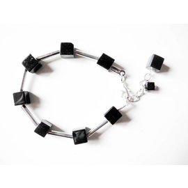 UK Collection Armband, zilver - zwart