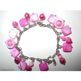 UK Collection Armband mit Perlen und Ohrringen, fuchsia
