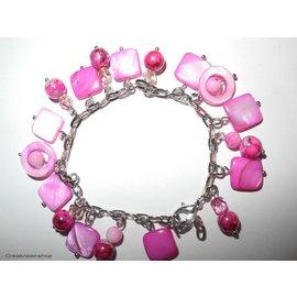 UK Collection Parelmoer armband, fel roze