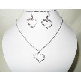 UK Collection Gliederkette mit Herzanhänger und Ohrringen