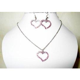 UK Collection Schakel ketting met hart hanger en oorbellen