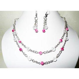UK Collection Halsketting met oorbellen in roze en kristal