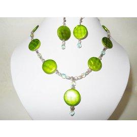 UK Collection Ketting met oorbellen, groen en zilverkleur