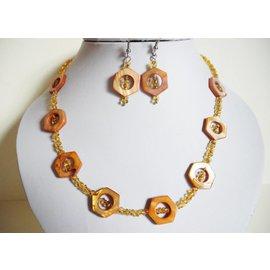 UK Collection Ketting en oorbellen, goudgeel - oranje
