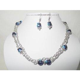 UK Collection Halsketting met oorbellen in blauw en zilverkleur