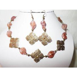 UK Collection Halskette und Ohrringe in bronze und altrosa