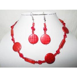 UK Collection Halskette und Ohrringe in Rottönen