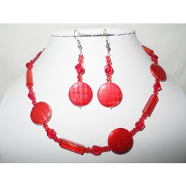 UK Collection Ketting en oorbellen in rode tinten
