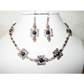 UK Collection Halskette und Ohrringe in dunkel und Silber