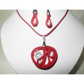 UK Collection Rode leren ketting met hanger