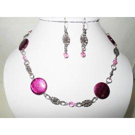 UK Collection Halskette mit Ohrringe in purpur