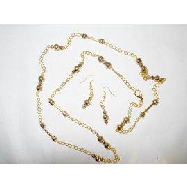 UK Collection Lange Halskette mit Ohrringen, goldfarben