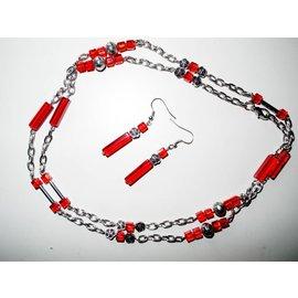 UK Collection Lange Halskette mit Ohrringen in silber und rot
